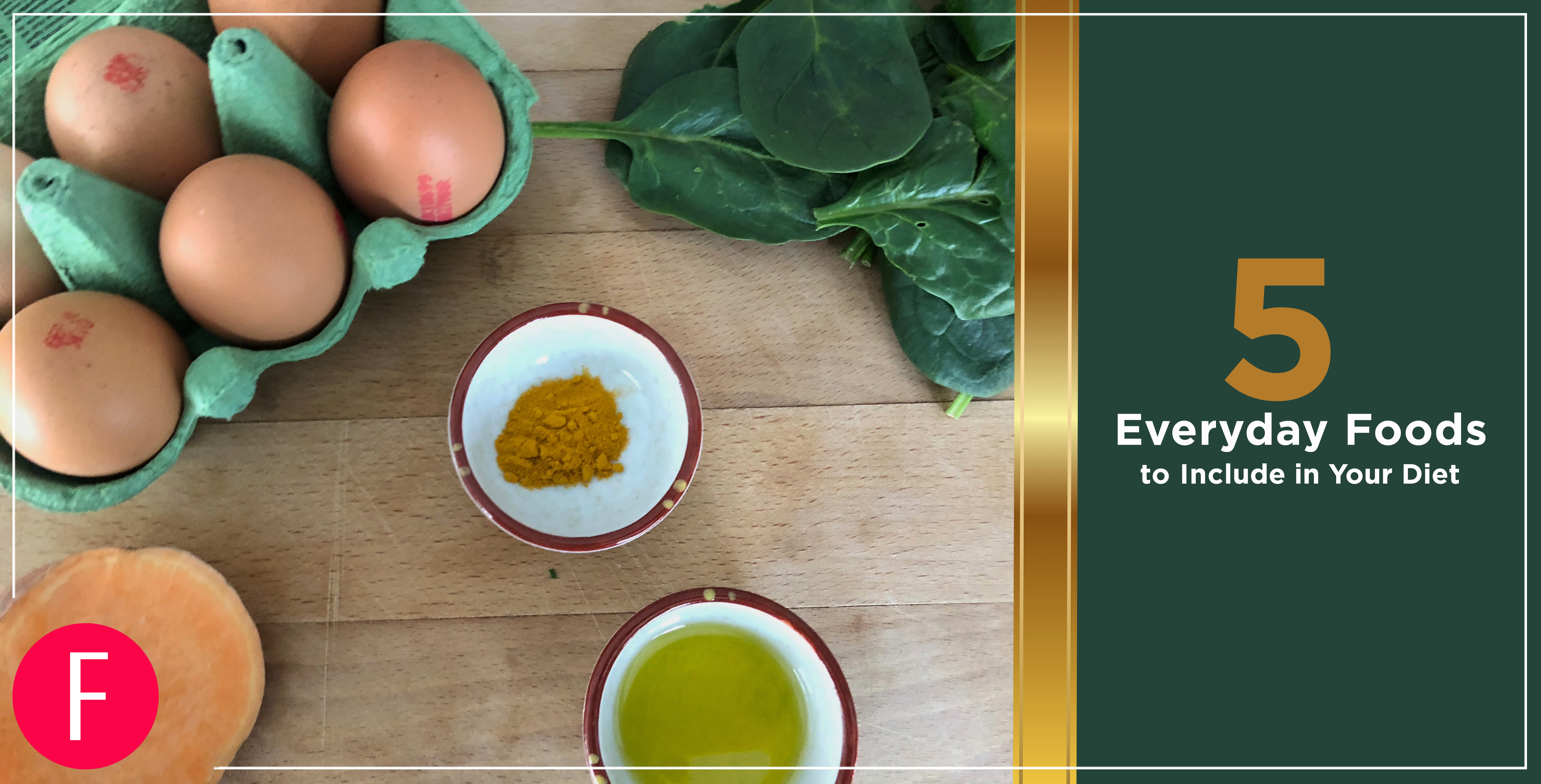 5 everyday foods. 5 power foods, foods 2019, foods, healthy foods, clean eating, eggs, olive oil, turmeric, spinach, sweet potato